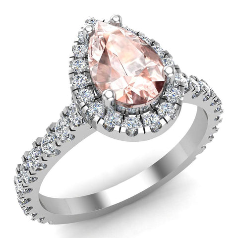 Pear Cut Pink Morganite Halo Engagement Ring 14K Gold (I,I1) - White Gold