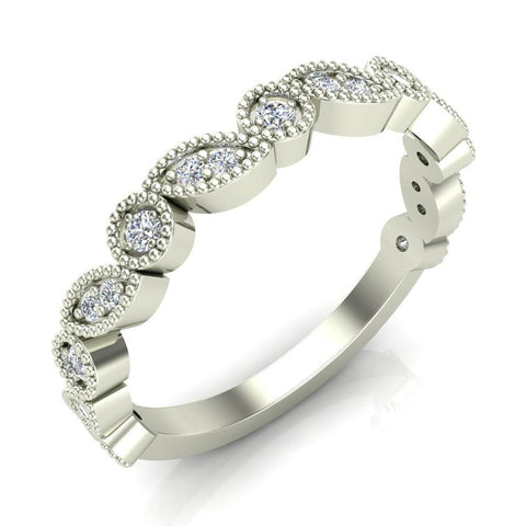 Stacking Circle & Marquee designer Milgrain Diamond Wedding Band 0.22 Ctw 14K solid Gold (I,I1) - White Gold