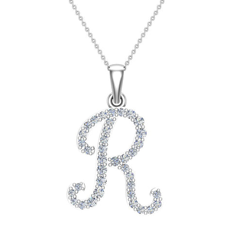 Initial Necklace R Letter charms Diamond pendant necklace 18K Gold (G,VS) - White Gold