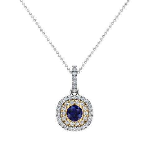 Round Cut Blue Sapphire Cushion Double Halo 2 tone necklace 14K Gold (G,SI) - Yellow Gold
