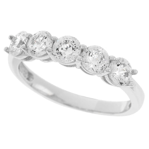 Epiphany Platinum Clad Diamonique 100-Facet Band Ring