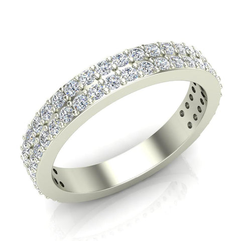 Stacking Dual Row Wide Round Diamond Wedding Band 0.81 ctw 18K Gold (G,SI) - White Gold