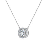 Cushion Halo Diamond Necklace 14K Gold (G,I1) - White Gold