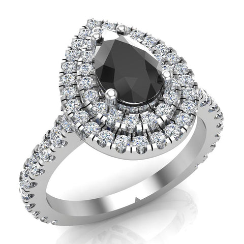 Pear Cut Black Diamond Double Halo Engagement Ring 14K Gold (I,I1) - White Gold