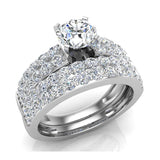 Two Row Solitaire Diamond Engagement Ring Set 14K Gold (I,I1) - White Gold