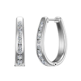 23.84 mm Long Channel Set Diamond Hoop Earrings Click Lock Setting 0.95 ctw 14K Gold (I,I1) - White Gold
