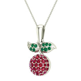 Red Garnet Dainty Cherry Charm Pendant Necklace 14k Gold 0.84 ctw - White Gold