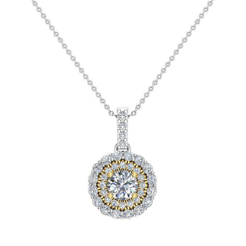 Round Brilliant Diamond Double Halo 2 tone necklace 14K Gold (G,I1) - Yellow Gold