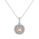 Round Cut Pink Morganite Double Halo 2 tone necklace 14K Gold (I,I1) - Yellow Gold