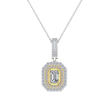 Emerald Cut Diamond Cut Cornered Halo 2 tone Necklace 14K Gold (I,I1) - Yellow Gold