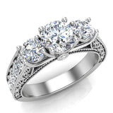 Diamond Engagement Rings for women 1.75 ctw Past Present Future Style 14K Gold (I, I1) - White Gold