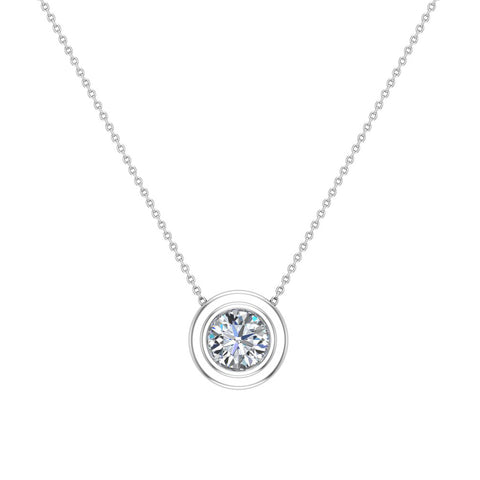 14K Gold Necklace Round Diamond Bezel Set Solitaire Chain Slide 5.80 mm (I,I1) - White Gold