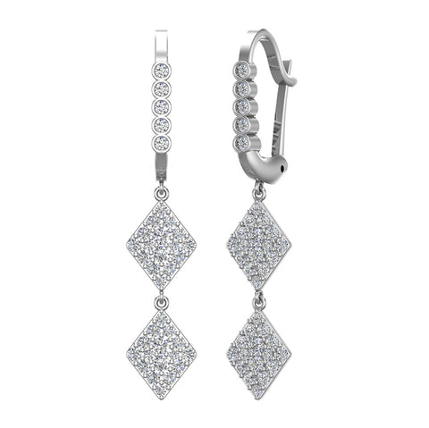 Kite Diamond Dangle Earrings Dainty Drop Style 14K Gold 1.14 ctw (I,I1) - White Gold