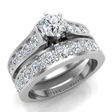 Riviera 18K Wedding Rings for Women Bridal Set Round Cut 1.80 carat 18K Gold (G, SI) - White Gold