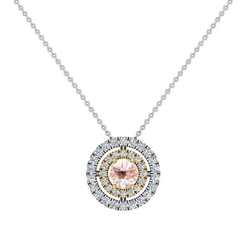 Round Cut Pink Morganite Double Halo 2 tone necklace 14K Gold (G,I1) - Yellow Gold