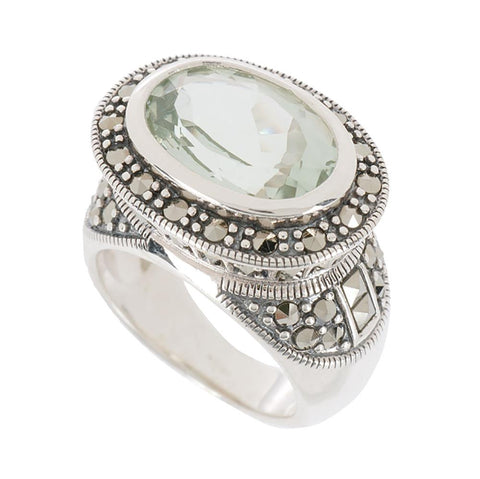Suspicion Sterling Marcasi East/West Green Quartz Ring