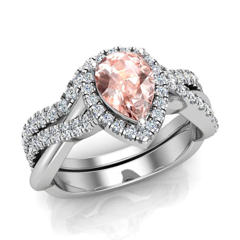 Pear cut Pink Morganite Criss Cross Diamond Halo Wedding Ring Set 14K Gold (I,I1) - White Gold