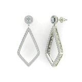 Magnificent Diamond Dangle Earrings delicate Kite Halo Stud 14K Gold (G,SI) - White Gold