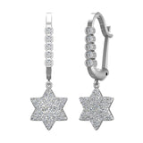 Star of David Diamond Dangle Earrings Dainty Drop Style 14K Gold 0.83 ctw (G,SI) - White Gold