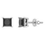 Princess Cut Black Diamond Earrings 14K Gold Studs Natural Diamonds (Black,AAA) - White Gold
