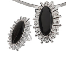 Artisan Crafted Sterling & Black Onyx Framed Set