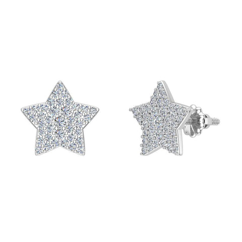 Star Shape Diamond Cluster Stud Earrings 0.50 ctw 14K Gold (G,SI) - White Gold
