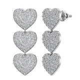 Heart Diamond Chandelier Earrings Waterfall Style 14K Gold (I,I1) - White Gold