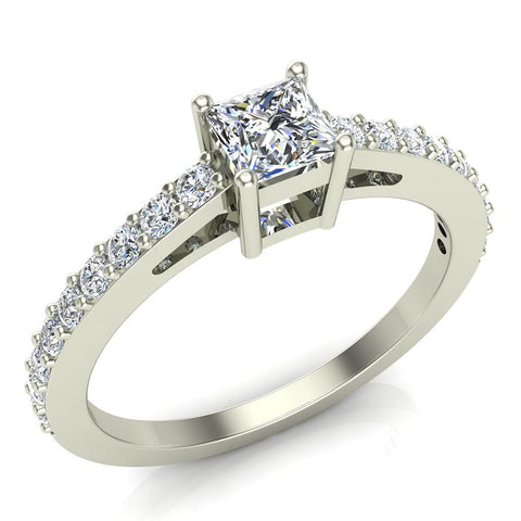 Classic Style Petite Princess Cut Diamond Promise Ring 14K Gold 0.55 Ctw (G,SI) - White Gold