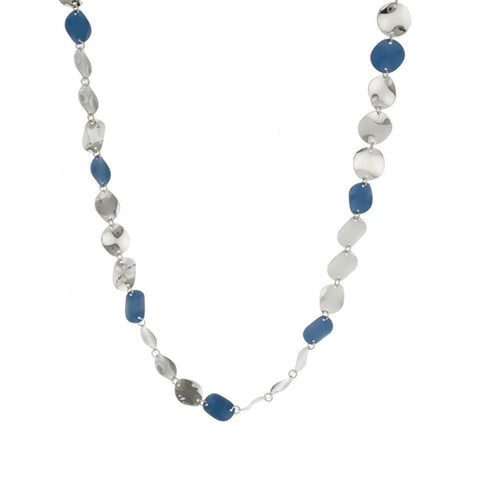 "Robert Rose High Polished and Enamel Wavy Disc 41"" Necklace"