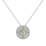 Round Brilliant Diamond Double Halo 2 tone necklace 14K Gold (I,I1) - Yellow Gold