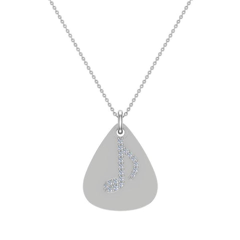 Signature Guitar Pick 14K Gold Necklace with Diamond Musical Note Highlights 0.10 ctw (I,I1) - White Gold