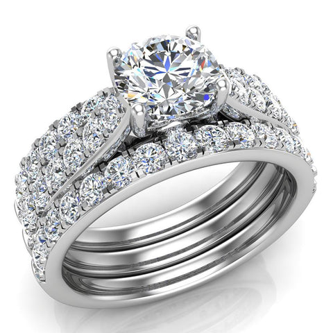 Accented Diamond Solitaire Wedding Ring Set w/ Enhancer Bands Bridal 1.90 Carat Total 18K Gold (G,VS) - White Gold