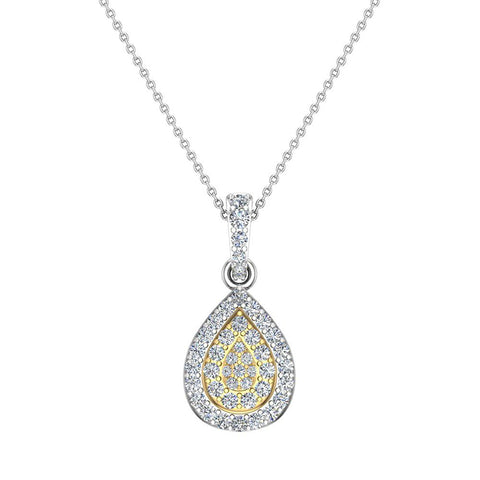Tear Drop Diamond Necklace 2 Tone 14K Gold (G,SI) - Yellow Gold