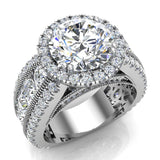 Moissanite Engagement Rings 14K Gold Real Diamond accented Ring Channel Set 6.35 carat tw (I,I1) - White Gold