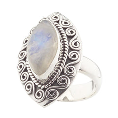 Artisan Crafted Sterling Rainbow Moonstone Swirl Design Ring