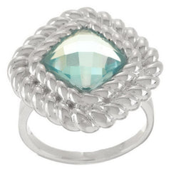 Ultra Fine Silver Faceted Cushion Cut Gemstone Rope Border Ring