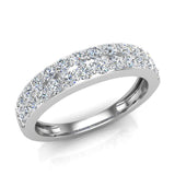 Diamond Wedding Band matching to Two Row Solitaire Diamond Wedding Ring 14K Gold 0.70 carat (I,I1) - White Gold