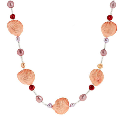 Lee Sands Puffed Shell & Cultured Pearl Necklace