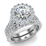 Moissanite Wedding Ring Set 14K Gold Halo Rings for women 7.40 mm 5.15 carat (G,SI) - White Gold