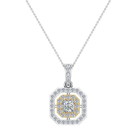 Princess Cut Diamond Cut Cornered Halo 2 tone Necklace 14K Gold (I,I1) - Yellow Gold