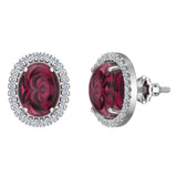 4.34 ct tw Red Garnet & Diamond Cabochon Stud Earring In 14k Gold (G, I1) - White Gold