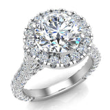 Moissanite Engagement rings 14K Gold Halo Rings for women 4.30 carat (I,I1) - White Gold
