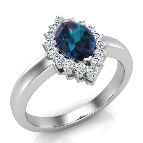 June Birthstone Alexandrite Marquise 14K Gold Diamond Ring 1.00 ct tw - White Gold