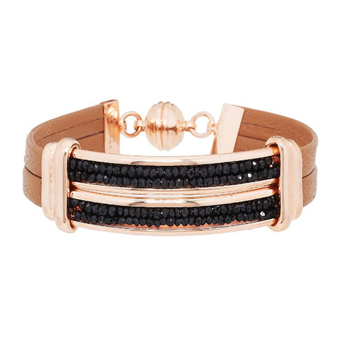 Bronze Black Spinel Station Leather Bracelet by Bronzo Italia