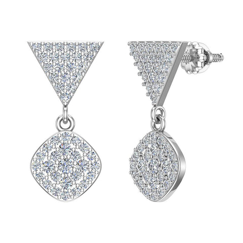 Cushion Diamond Dangle Earrings 14K Gold 0.80 ctw (I,I1) - White Gold