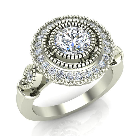 0.98 Carat Vintage Halo Solitaire Wedding Ring 14K Gold (G,I1) - White Gold