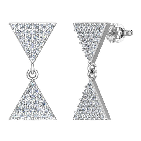 Diamond Dangle Earrings Triangle Pattern Cluster Hour-glass Look 14K Gold 0.63 ctw (I,I1) - White Gold
