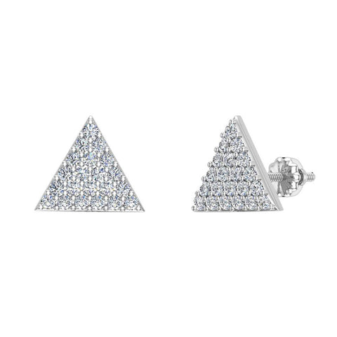 Triangle Shape Pave Diamond Stud Earrings 1/2 ctw 14K Gold (G,SI) - White Gold