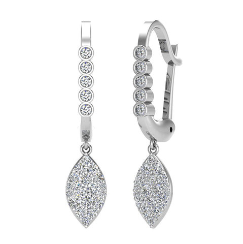 Marquise Diamond Dangle Earrings Dainty Drop Style 14K Gold 0.70 ctw (I,I1) - White Gold