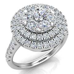 Double Halo with Solitaire look Diamond Cluster Ring 14K Gold (I,I1)